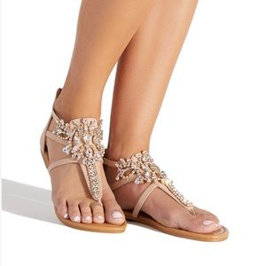 Shoe Dazzle Blush Jeweled Sandal
